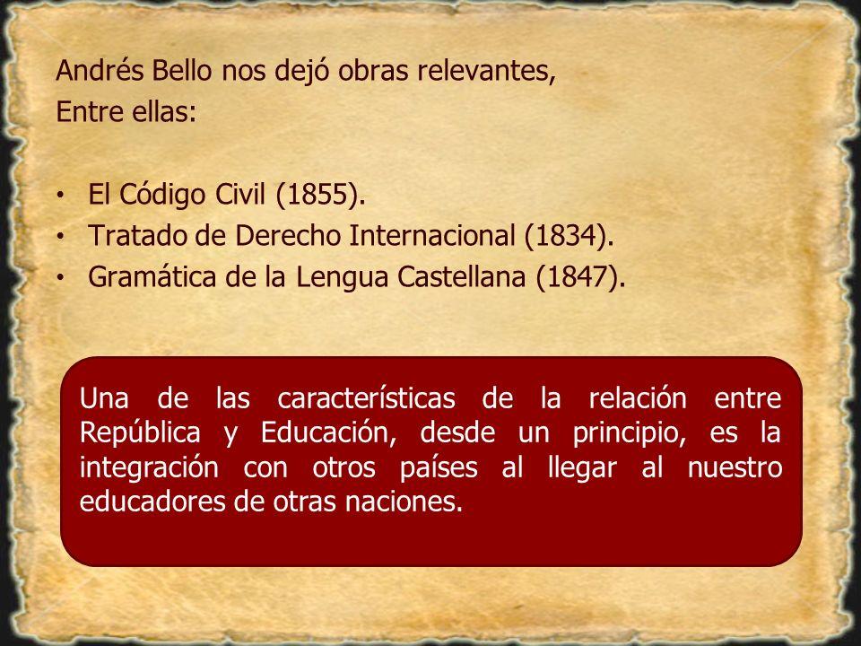 Andrés Bello nos dejó obras relevantes, Entre ellas: El Código Civil (1855). Tratado de Derecho Internacional (1834). Gramática de la Lengua Castellan