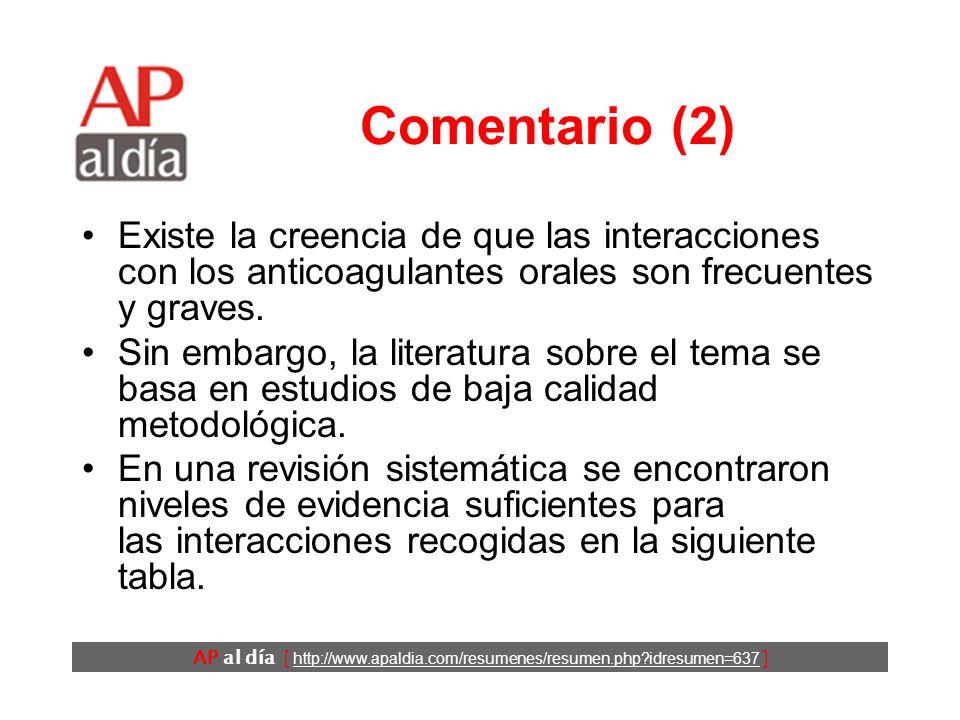 AP al día [ http://www.apaldia.com/resumenes/resumen.php?idresumen=637 ] Comentario (1) La hemorragia es el principal efecto indeseable de los tratami