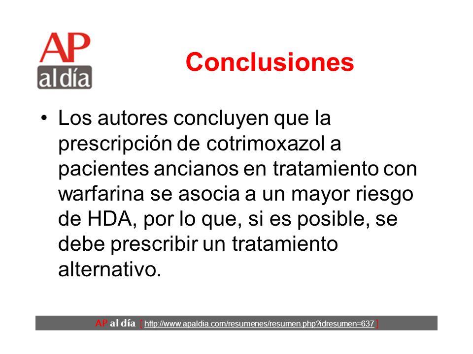 AP al día [ http://www.apaldia.com/resumenes/resumen.php?idresumen=637 ] Resultados (2) Los casos tenían más antecedentes de hemorragias gastrointestinales y de otras localizaciones, más antecedentes de ingresos y tomaban más medicamentos que los controles.