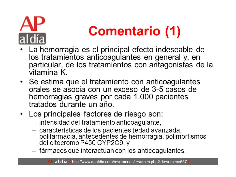 AP al día [ http://www.apaldia.com/resumenes/resumen.php?idresumen=637 ] Conclusiones Los autores concluyen que la prescripción de cotrimoxazol a pacientes ancianos en tratamiento con warfarina se asocia a un mayor riesgo de HDA, por lo que, si es posible, se debe prescribir un tratamiento alternativo.