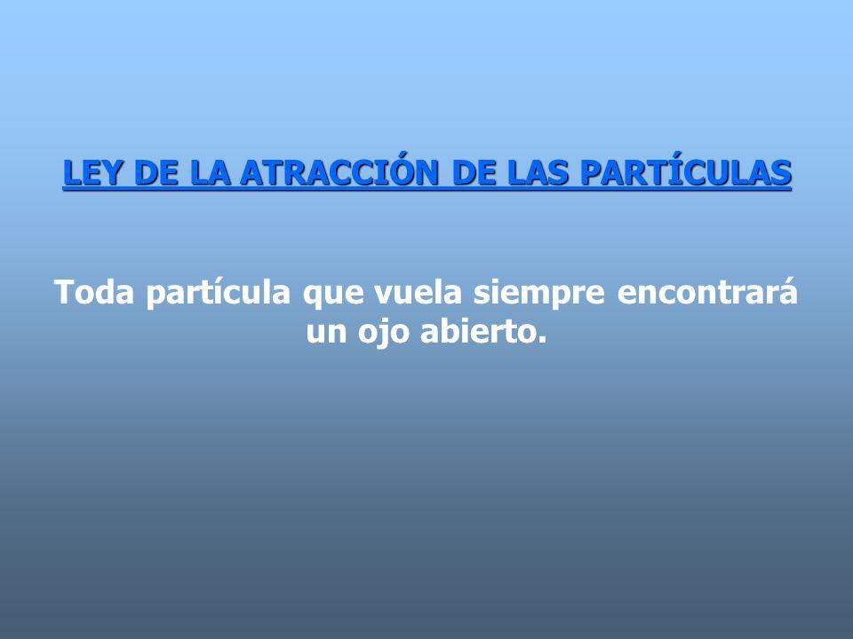 LEY DE LA ATRACCIÓN DE LAS PARTÍCULAS Toda partícula que vuela siempre encontrará un ojo abierto.