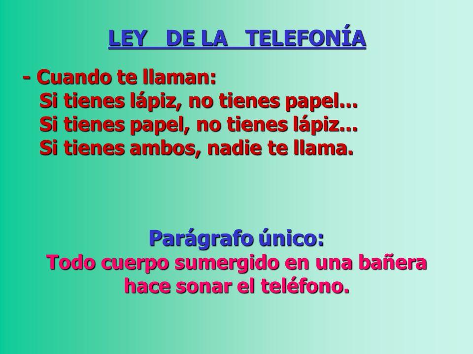 LEY DE LA TELEFONÍA - Cuando te llaman: - Cuando te llaman: Si tienes lápiz, no tienes papel... Si tienes papel, no tienes lápiz... Si tienes lápiz, n