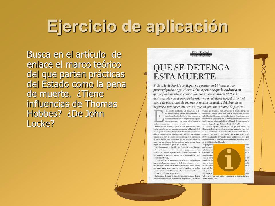 Ejercicio de aplicación Busca en el artículo de enlace el marco teórico del que parten prácticas del Estado como la pena de muerte. ¿Tiene influencias