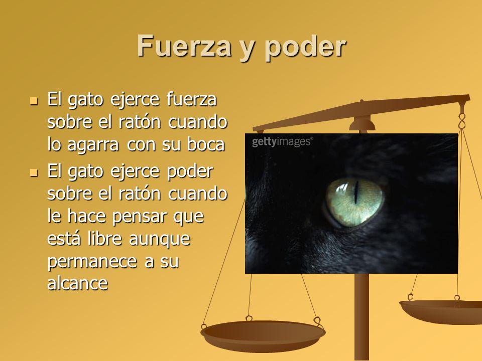 Fuerza y poder El gato ejerce fuerza sobre el ratón cuando lo agarra con su boca El gato ejerce fuerza sobre el ratón cuando lo agarra con su boca El