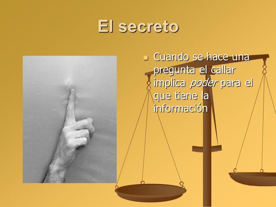 El secreto Cuando se hace una pregunta el callar implica poder para el que tiene la información