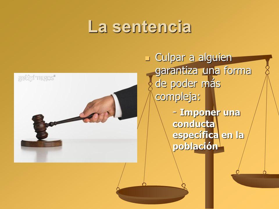 La sentencia Culpar a alguien garantiza una forma de poder más compleja: - Imponer una conducta específica en la población