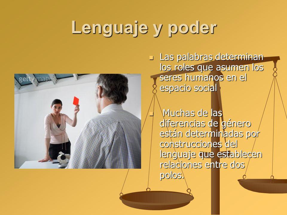 Lenguaje y poder Las palabras determinan los roles que asumen los seres humanos en el espacio social Muchas de las diferencias de género están determi