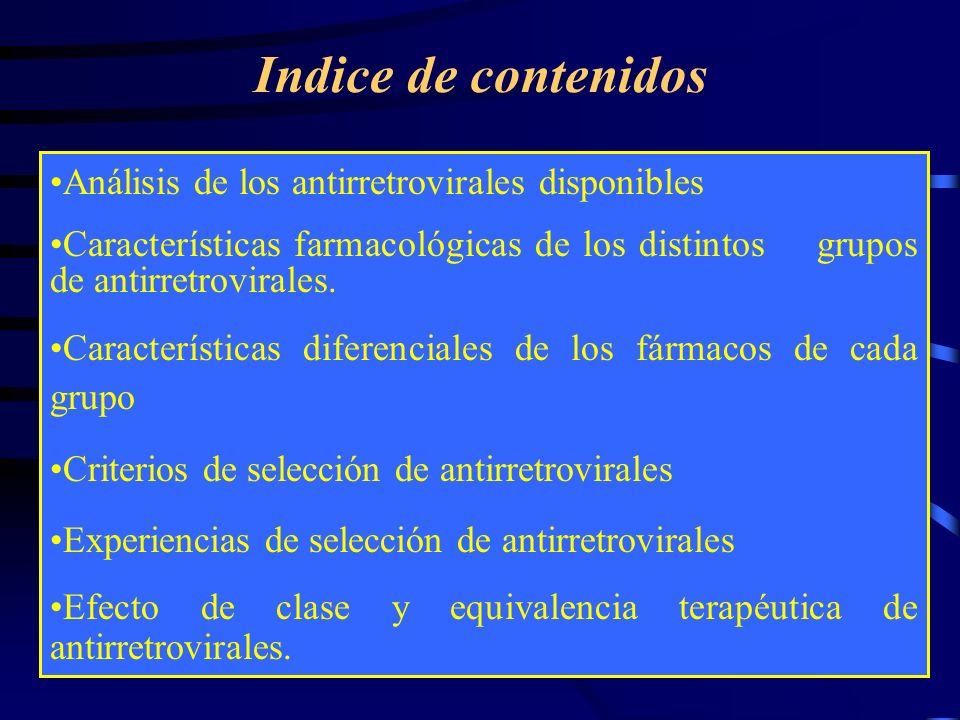 Indice de contenidos Análisis de los antirretrovirales disponibles Características farmacológicas de los distintos grupos de antirretrovirales. Caract
