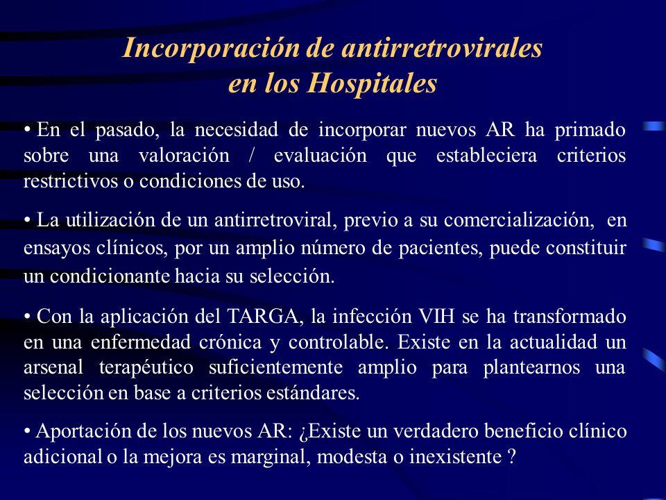 Incorporación de antirretrovirales en los Hospitales En el pasado, la necesidad de incorporar nuevos AR ha primado sobre una valoración / evaluación que estableciera criterios restrictivos o condiciones de uso.