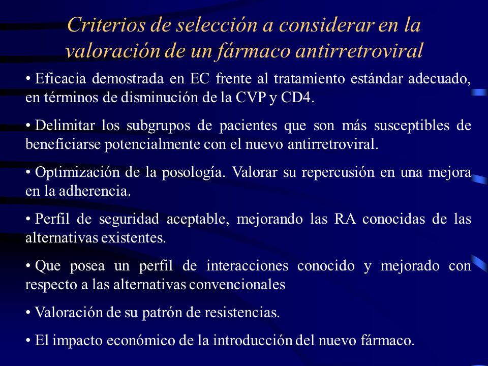 Criterios de selección a considerar en la valoración de un fármaco antirretroviral Eficacia demostrada en EC frente al tratamiento estándar adecuado, en términos de disminución de la CVP y CD4.