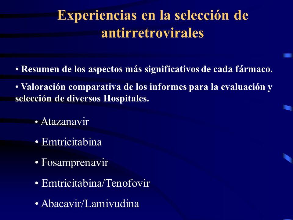 Experiencias en la selección de antirretrovirales Atazanavir Emtricitabina Fosamprenavir Emtricitabina/Tenofovir Abacavir/Lamivudina Resumen de los aspectos más significativos de cada fármaco.