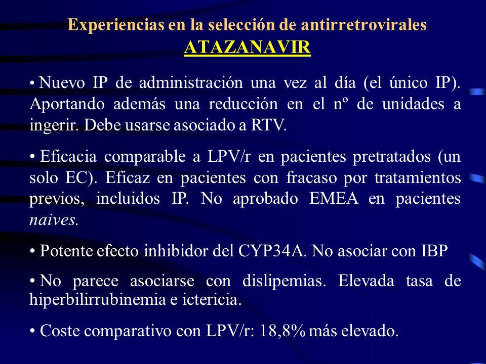 Experiencias en la selección de antirretrovirales ATAZANAVIR Nuevo IP de administración una vez al día (el único IP). Aportando además una reducción e