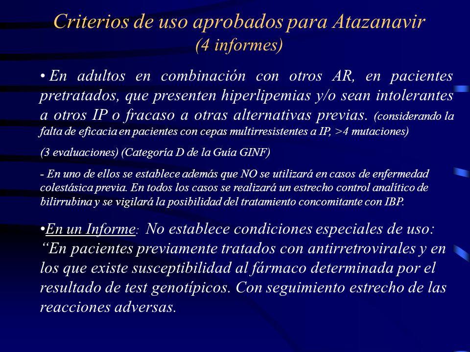 Criterios de uso aprobados para Atazanavir (4 informes) En adultos en combinación con otros AR, en pacientes pretratados, que presenten hiperlipemias y/o sean intolerantes a otros IP o fracaso a otras alternativas previas.