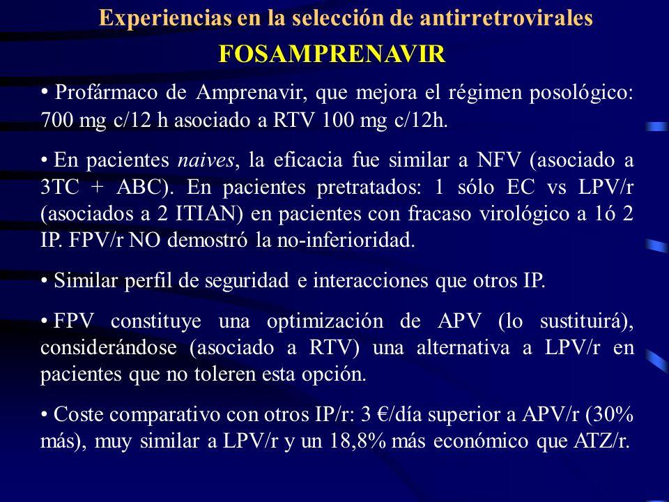 Experiencias en la selección de antirretrovirales FOSAMPRENAVIR Profármaco de Amprenavir, que mejora el régimen posológico: 700 mg c/12 h asociado a RTV 100 mg c/12h.