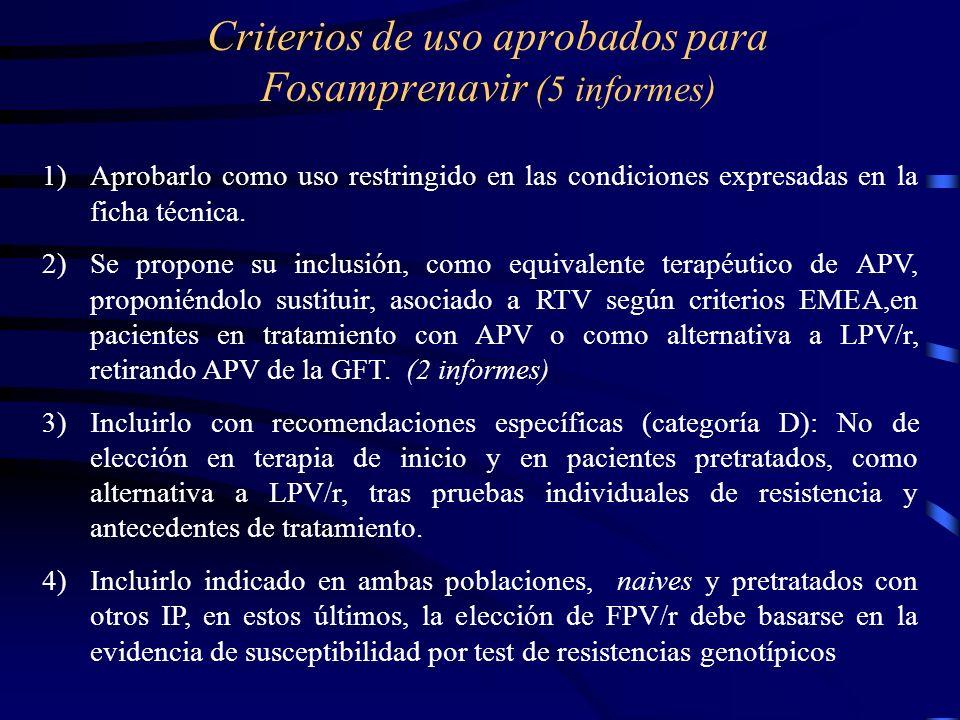 Criterios de uso aprobados para Fosamprenavir (5 informes) 1)Aprobarlo como uso restringido en las condiciones expresadas en la ficha técnica. 2)Se pr
