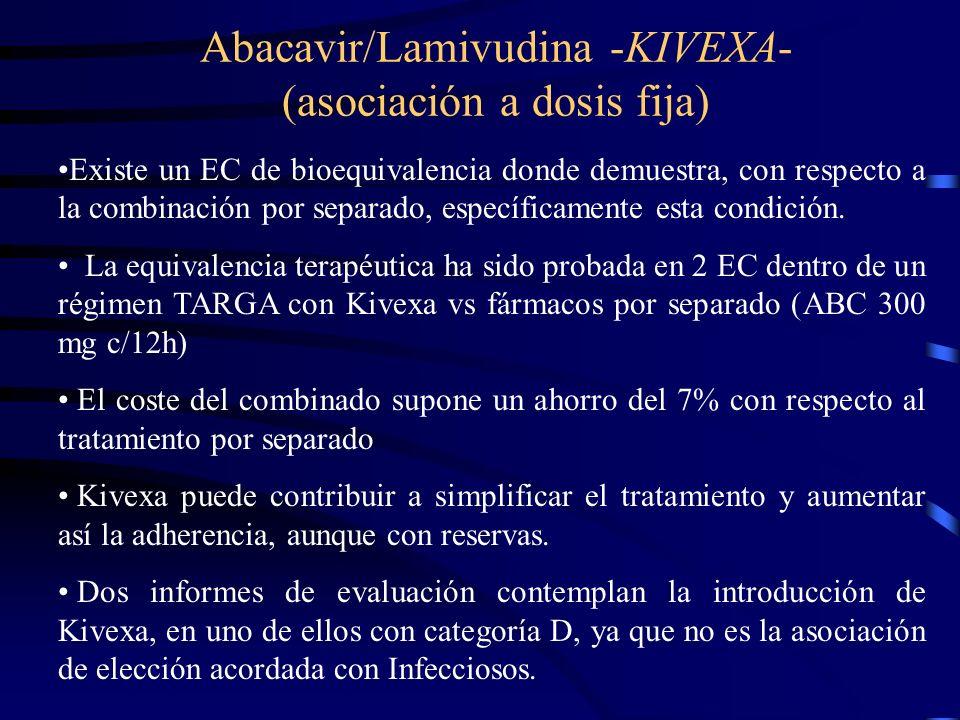 Abacavir/Lamivudina -KIVEXA- (asociación a dosis fija) Existe un EC de bioequivalencia donde demuestra, con respecto a la combinación por separado, es