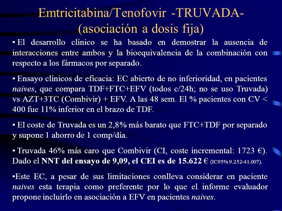 Emtricitabina/Tenofovir -TRUVADA- (asociación a dosis fija) El desarrollo clínico se ha basado en demostrar la ausencia de interacciones entre ambos y