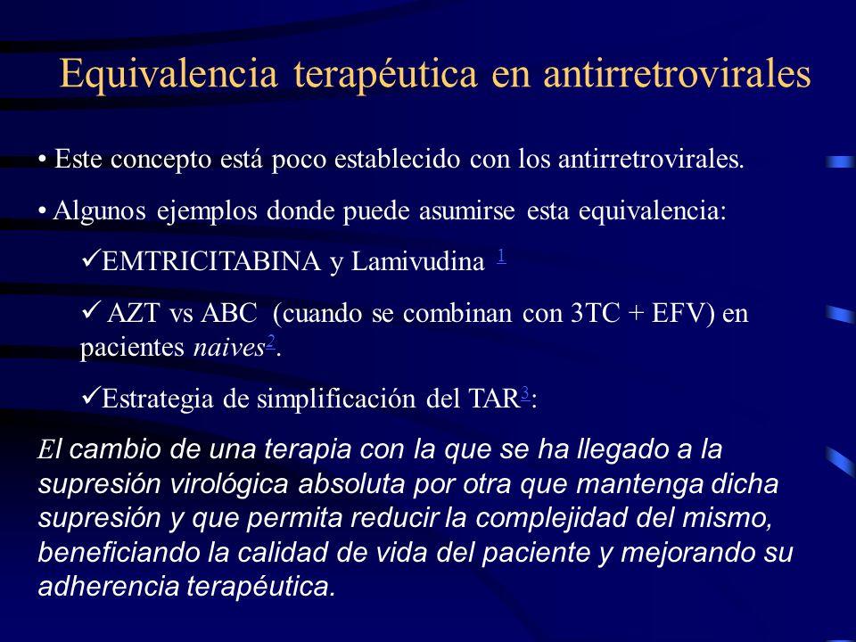 Equivalencia terapéutica en antirretrovirales Este concepto está poco establecido con los antirretrovirales. Algunos ejemplos donde puede asumirse est