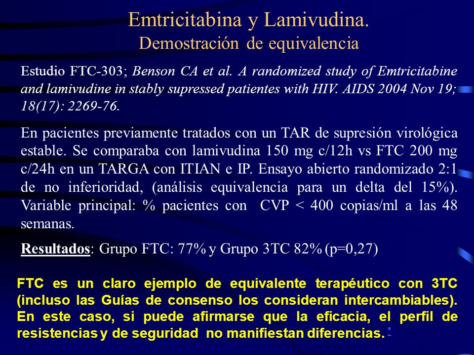 Emtricitabina y Lamivudina. Demostración de equivalencia Estudio FTC-303; Benson CA et al. A randomized study of Emtricitabine and lamivudine in stabl