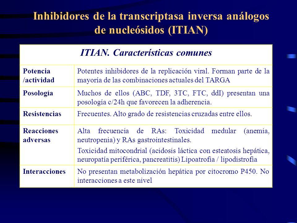 Inhibidores de la transcriptasa inversa análogos de nucleósidos (ITIAN) ITIAN. Características comunes Potencia /actividad Potentes inhibidores de la