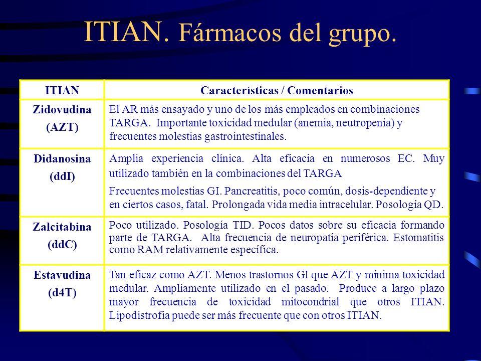 ITIAN. Fármacos del grupo. ITIANCaracterísticas / Comentarios Zidovudina (AZT) El AR más ensayado y uno de los más empleados en combinaciones TARGA. I