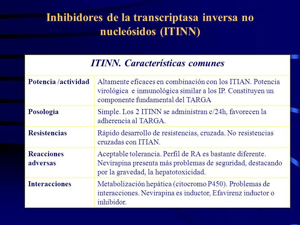 Inhibidores de la transcriptasa inversa no nucleósidos (ITINN) ITINN. Características comunes Potencia /actividadAltamente eficaces en combinación con