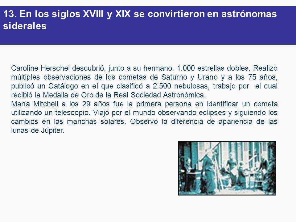 Caroline Herschel descubrió, junto a su hermano, 1.000 estrellas dobles. Realizó múltiples observaciones de los cometas de Saturno y Urano y a los 75