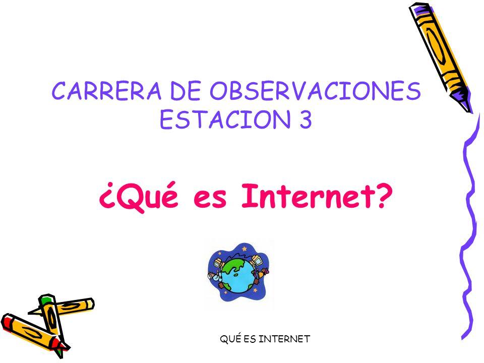 QUÉ ES INTERNET CARRERA DE OBSERVACIONES ESTACION 3 ¿Qué es Internet?