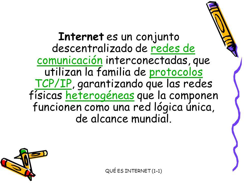 QUÉ ES INTERNET (1-1) Internet es un conjunto descentralizado de redes de comunicación interconectadas, que utilizan la familia de protocolos TCP/IP,