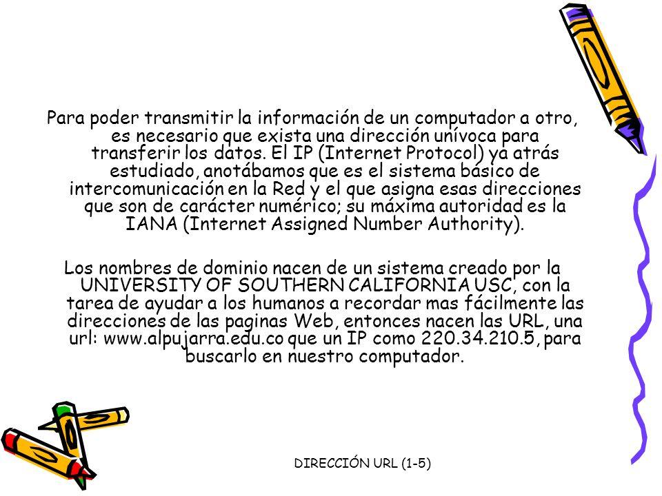 DIRECCIÓN URL (1-5) Para poder transmitir la información de un computador a otro, es necesario que exista una dirección unívoca para transferir los da