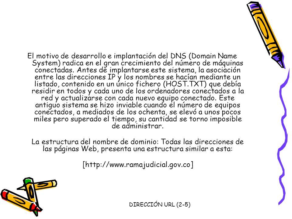 DIRECCIÓN URL (2-5) El motivo de desarrollo e implantación del DNS (Domain Name System) radica en el gran crecimiento del número de máquinas conectada