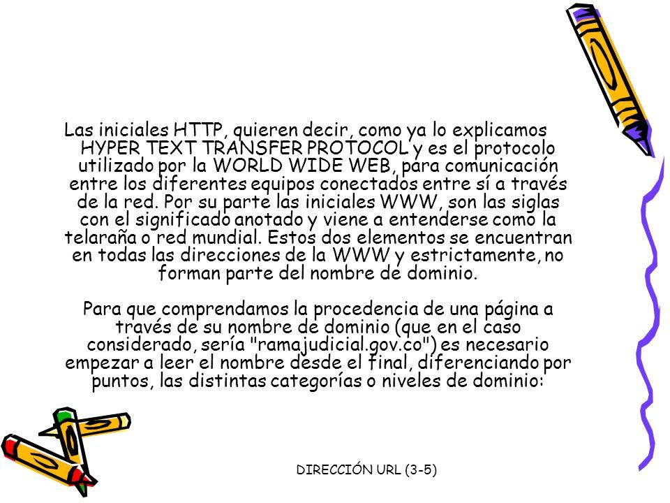 DIRECCIÓN URL (3-5) Las iniciales HTTP, quieren decir, como ya lo explicamos HYPER TEXT TRANSFER PROTOCOL y es el protocolo utilizado por la WORLD WID