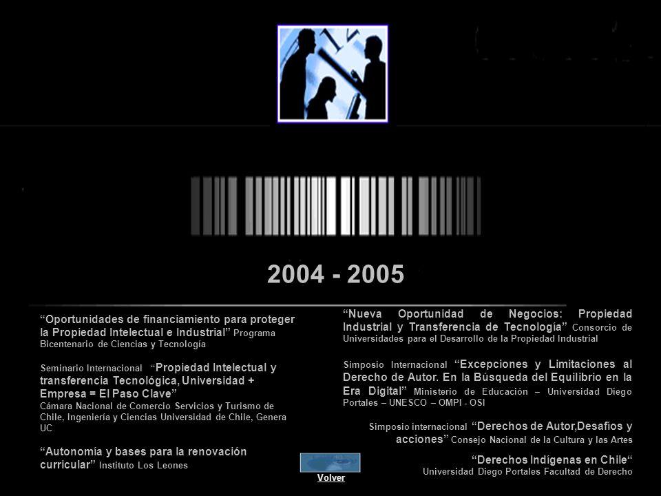 2004 - 2005 Nueva Oportunidad de Negocios: Propiedad Industrial y Transferencia de Tecnología Consorcio de Universidades para el Desarrollo de la Propiedad Industrial Simposio Internacional Excepciones y Limitaciones al Derecho de Autor.