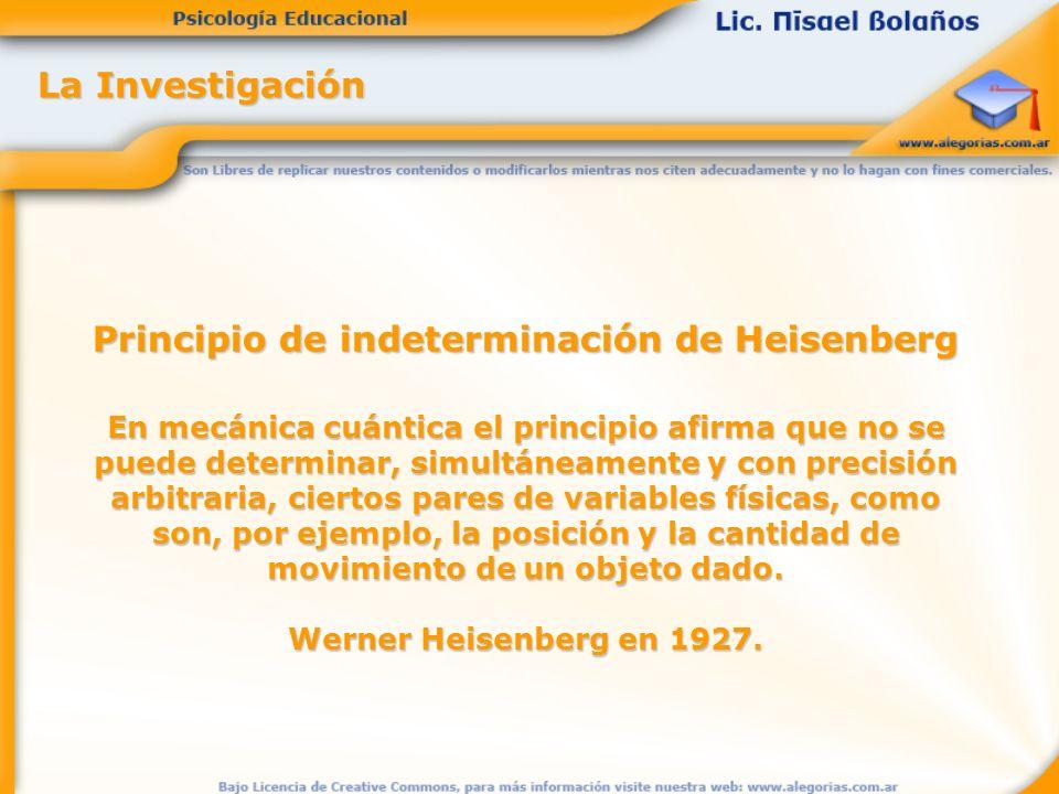 La Investigación Principio de indeterminación de Heisenberg En mecánica cuántica el principio afirma que no se puede determinar, simultáneamente y con precisión arbitraria, ciertos pares de variables físicas, como son, por ejemplo, la posición y la cantidad de movimiento de un objeto dado.