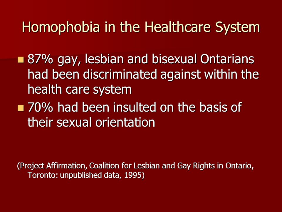 Homophobia in the Healthcare System 87% gay, lesbian and bisexual Ontarians had been discriminated against within the health care system 87% gay, lesb