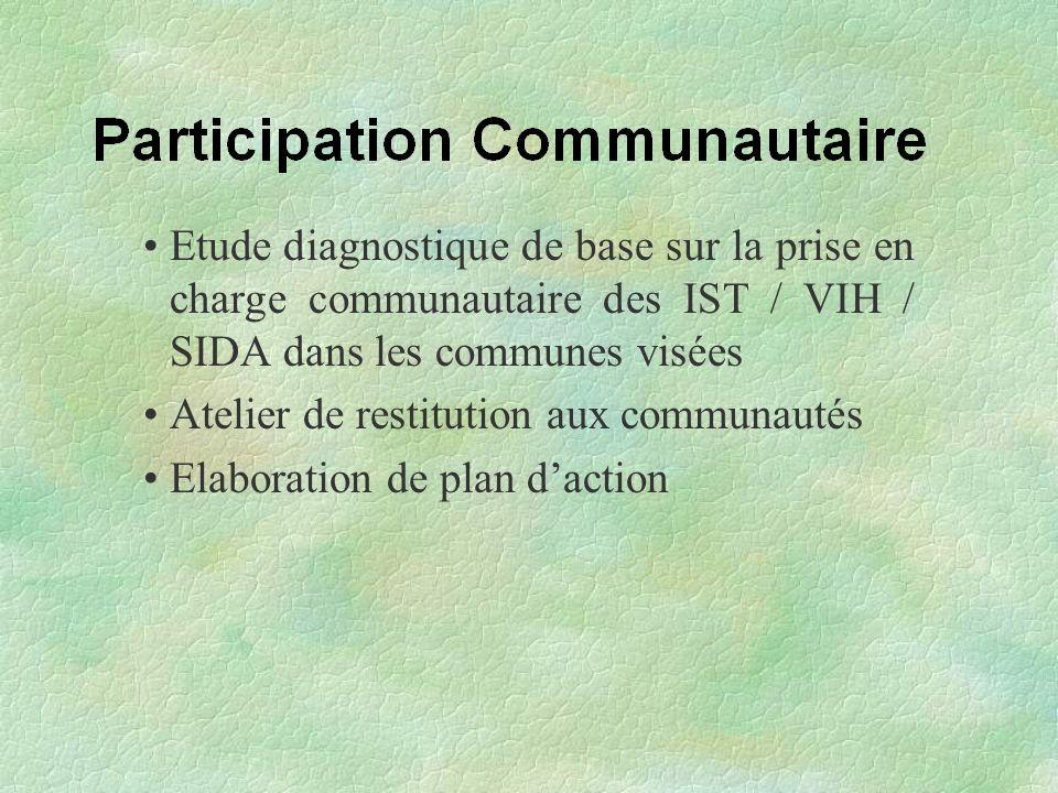 Etude diagnostique de base sur la prise en charge communautaire des IST / VIH / SIDA dans les communes visées Atelier de restitution aux communautés E