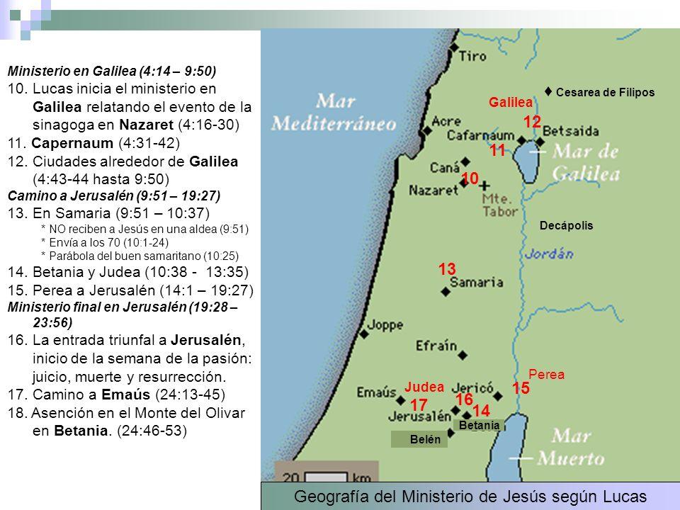 Ministerio en Galilea (4:14 – 9:50) 10. Lucas inicia el ministerio en Galilea relatando el evento de la sinagoga en Nazaret (4:16-30) 11. Capernaum (4
