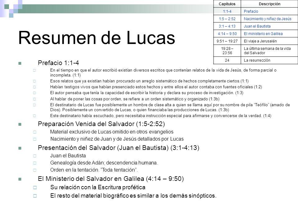 Resumen de Lucas CapítulosDescripción 1:1-4Prefacio 1:5 – 2:52Nacimiento y niñez de Jesús 3:1 – 4:13Juan el Bautista 4:14 – 9:50El ministerio en Galil
