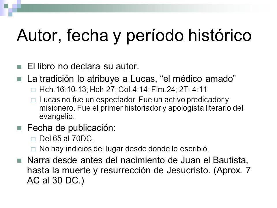 Autor, fecha y período histórico El libro no declara su autor. La tradición lo atribuye a Lucas, el médico amado Hch.16:10-13; Hch.27; Col.4:14; Flm.2