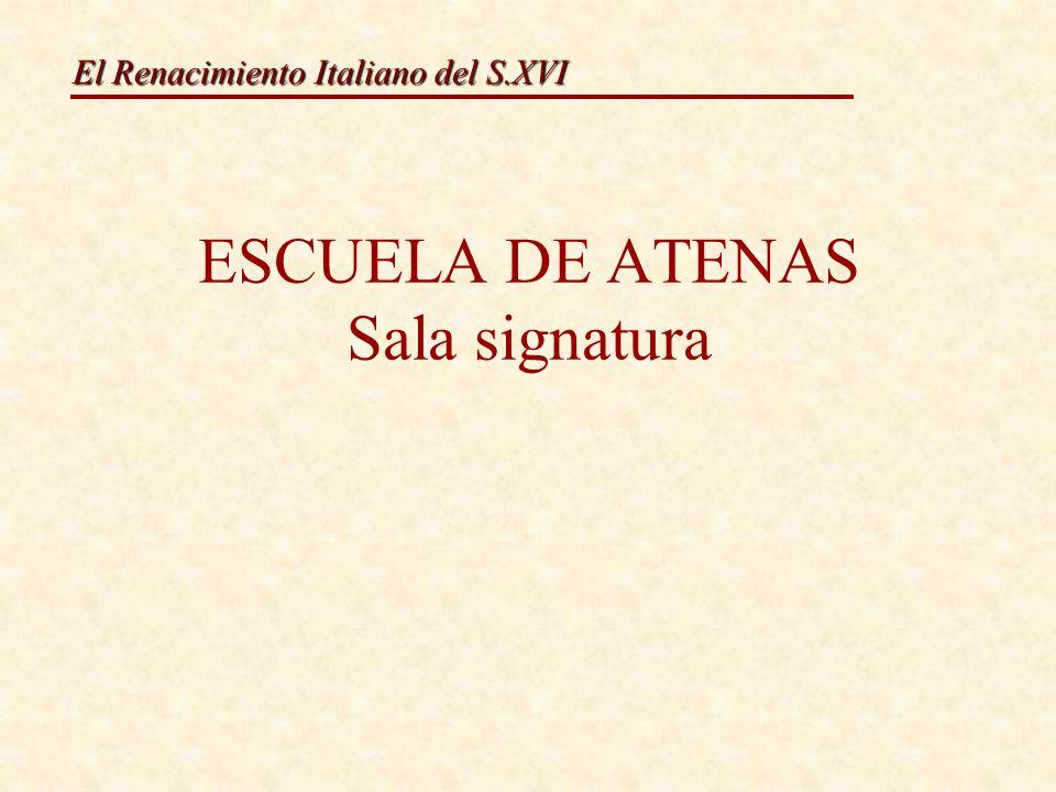 El Renacimiento Italiano del S.XVI ESCUELA DE ATENAS Sala signatura