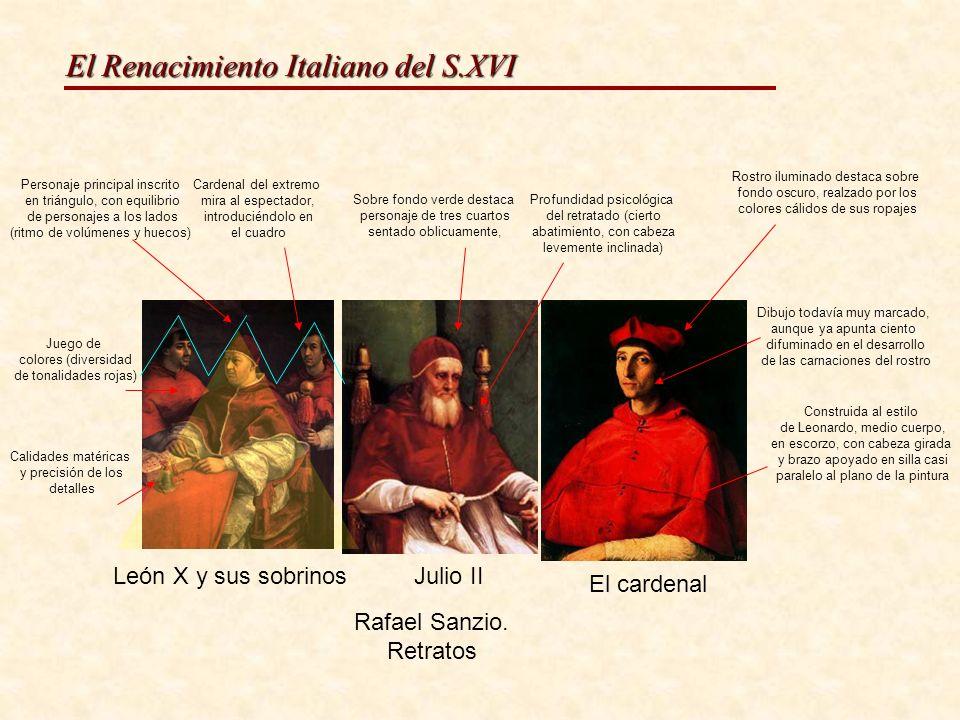 El Renacimiento Italiano del S.XVI León X y sus sobrinosJulio II El cardenal Rafael Sanzio. Retratos Construida al estilo de Leonardo, medio cuerpo, e