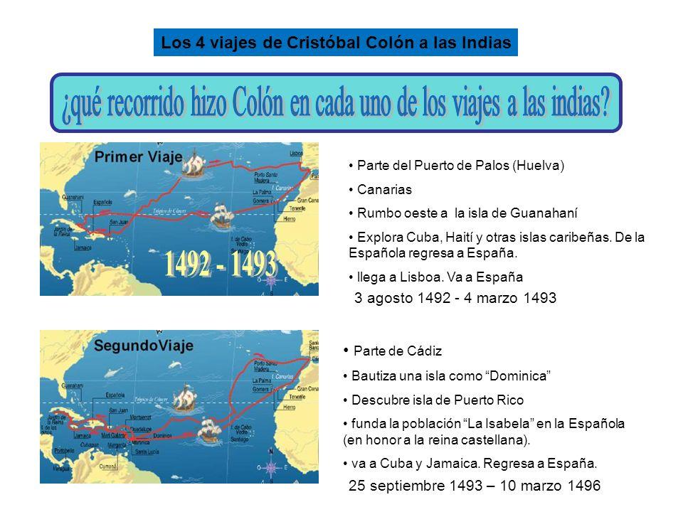 Parte del Puerto de Palos (Huelva) Canarias Rumbo oeste a la isla de Guanahaní Explora Cuba, Haití y otras islas caribeñas. De la Española regresa a E
