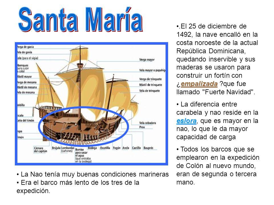 empalizada.El 25 de diciembre de 1492, la nave encalló en la costa noroeste de la actual República Dominicana, quedando inservible y sus maderas se us