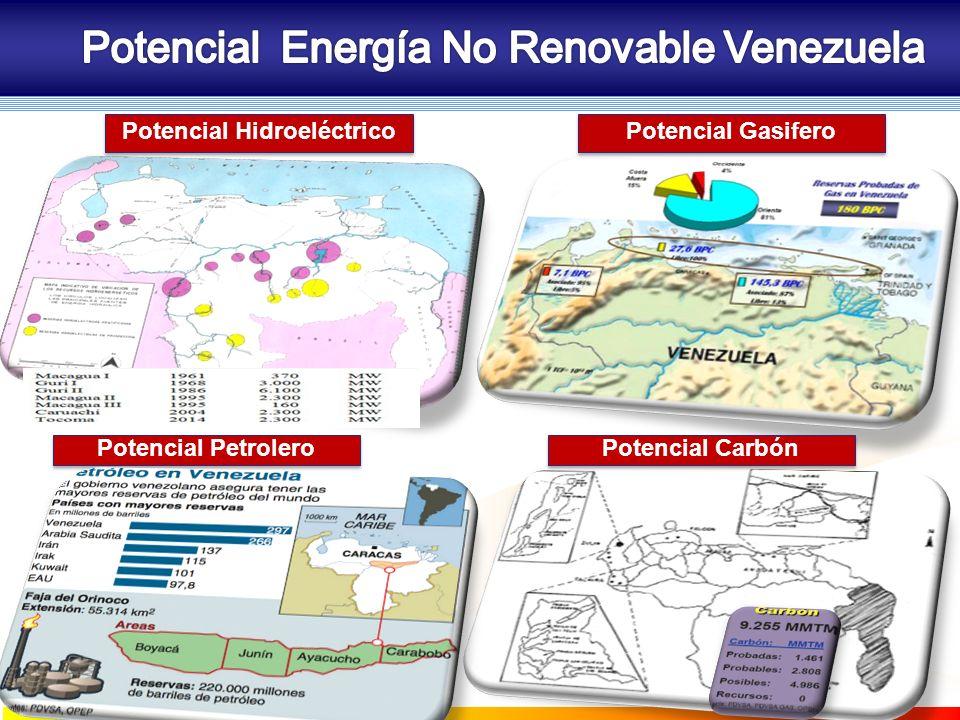 Potencial Hidroeléctrico Potencial Gasifero Potencial Carbón Potencial Petrolero