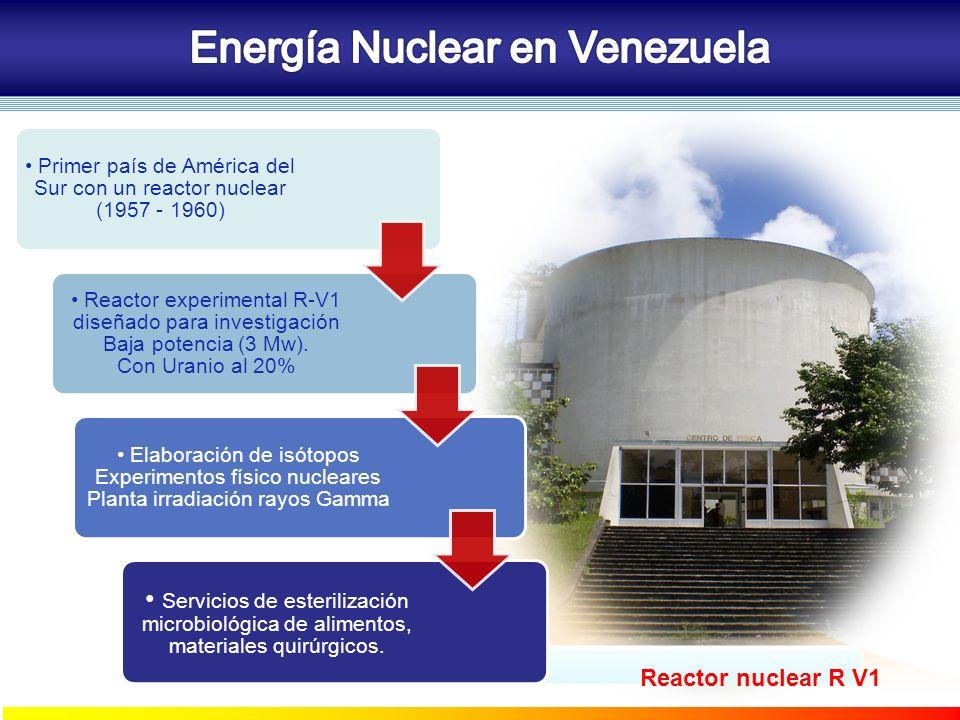 Primer país de América del Sur con un reactor nuclear (1957 - 1960) Reactor experimental R-V1 diseñado para investigación Baja potencia (3 Mw). Con Ur