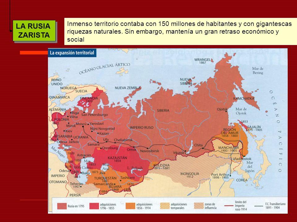 LA RUSIA ZARISTA LA RUSIA ZARISTA Inmenso territorio contaba con 150 millones de habitantes y con gigantescas riquezas naturales. Sin embargo, mantení