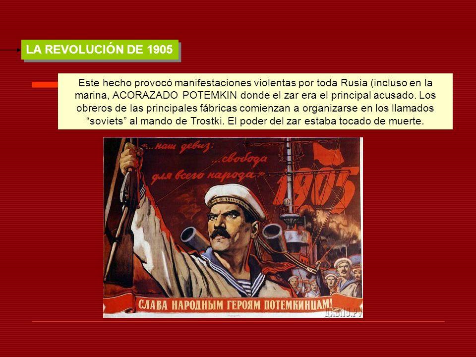 LA REVOLUCIÓN DE 1905 Este hecho provocó manifestaciones violentas por toda Rusia (incluso en la marina, ACORAZADO POTEMKIN donde el zar era el princi