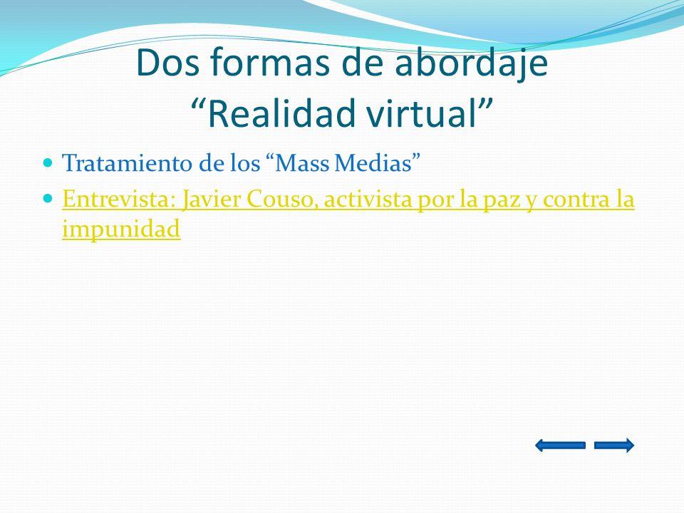 Dos formas de abordaje Realidad virtual Tratamiento de los Mass Medias Entrevista: Javier Couso, activista por la paz y contra la impunidad Entrevista