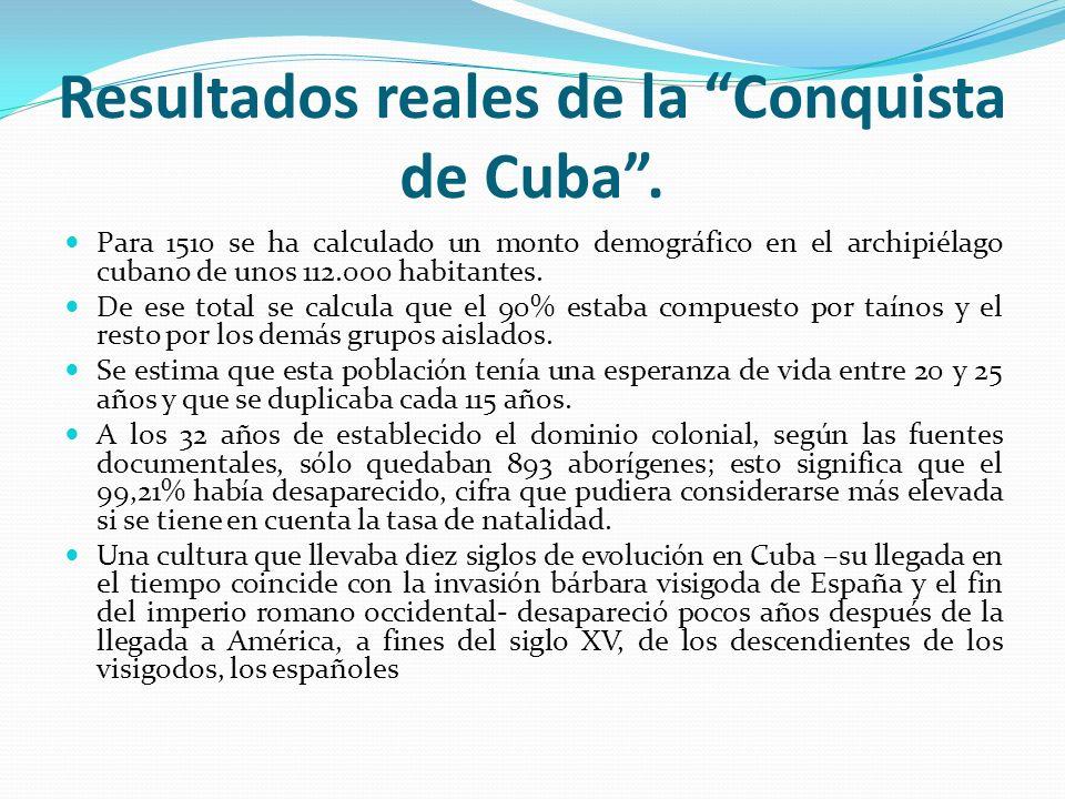 Resultados reales de la Conquista de Cuba. Para 1510 se ha calculado un monto demográfico en el archipiélago cubano de unos 112.000 habitantes. De ese