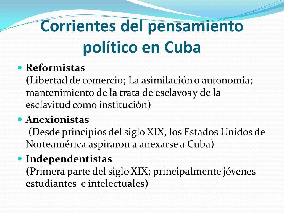 Corrientes del pensamiento político en Cuba Reformistas (Libertad de comercio; La asimilación o autonomía; mantenimiento de la trata de esclavos y de